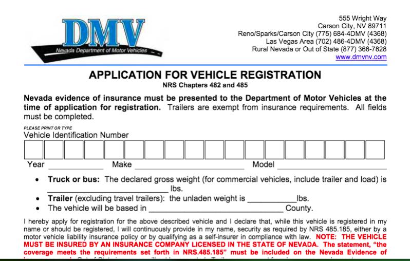 Conducir sin registro en Las Vegas, Nevada